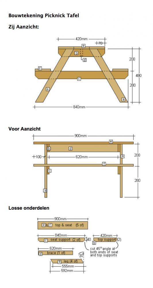 bouwtekening picknicktafel