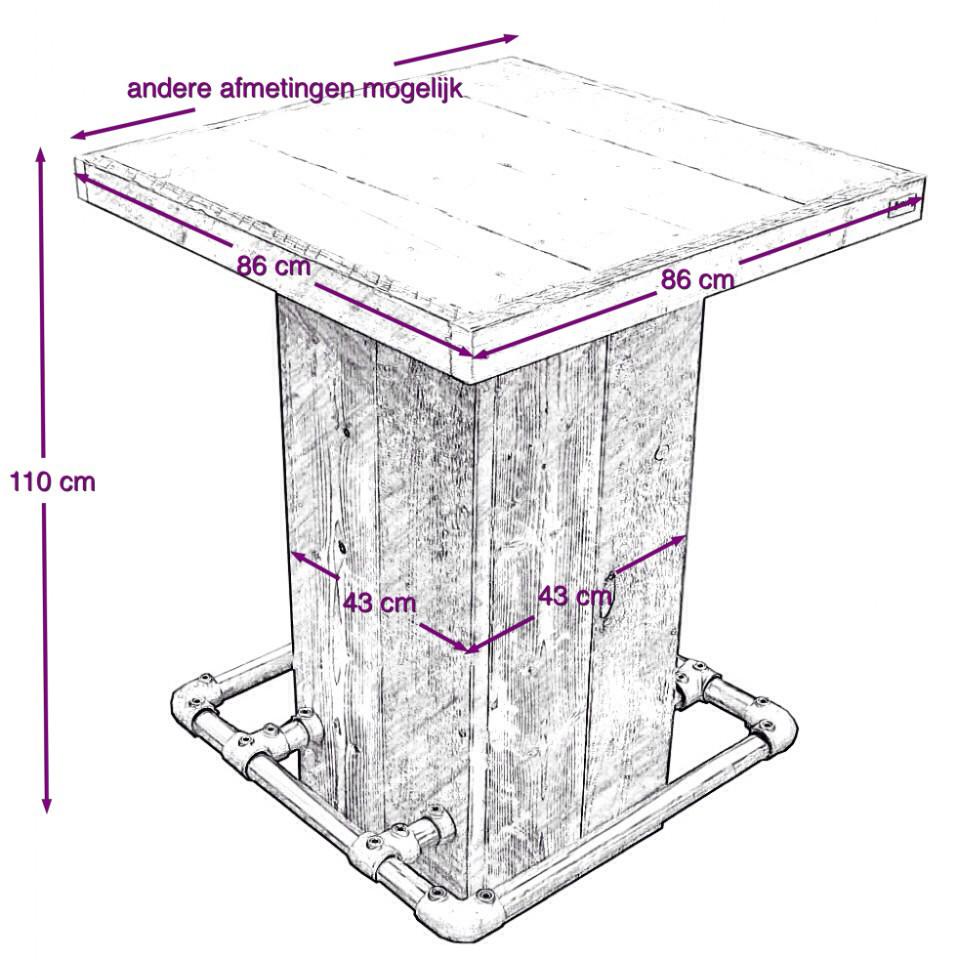 bouwtekening statafel steigerhout